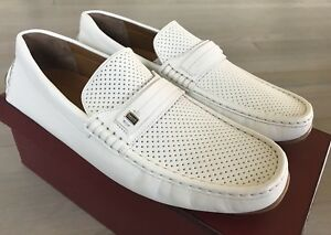 600$ Bally Pryce White Perforated Leather Driver Size US 9.5 Made in Italy