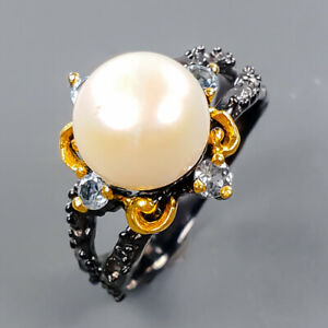 Handmade Design Pearl Ring Silver 925 Sterling  Size 8.5 /R177772