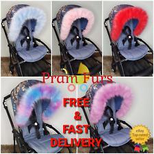 Pram Fur Hood Trim Universal Fit FAUX FUR Trims Pram Accessories Furs UK