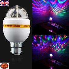 B22 3W RGB LED Full Color DJ Stage Light Bulb Auto Rotating Crystal Lamp UK FE