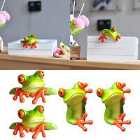 4 Piece Modern Exquisite 3D Frog Sculptures Car Office Decor Laptop Monitor