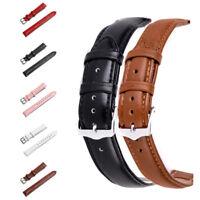 Universal Retro Genuine Leather Watch Band Strap Steel Buckle Belt 16/18/20/22mm