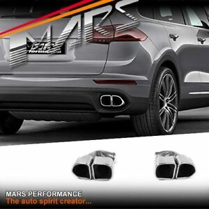 Silver Square Twin Outlet Exhaust Muffler Tips for Porsche Cayenne 958 92A 15-18
