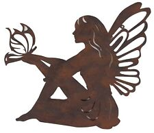 Fairy Butterfly Metal Hanging Wall Art Rust Rustic Home Garden Sculpture *45 cm*