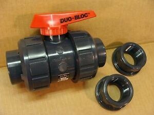 NEW ASAHI made in Japan 1 1/2 inch PVC duo bloc ball valve w/ threaded adapters