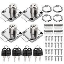 4pcs Cylinder Cam Key Locks Tool Cabinet Desk Drawer Letter Box File With 8 Keys