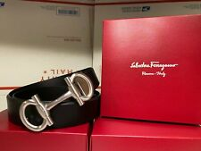 Authentic Salvatore Ferragamo Black Leather Silver Horseshoe Buckle Belt