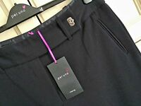 LADIES M&S PER UNA SIZES 12 16 OR 18 BLACK WIDE LEG STRETCH TROUSERS FREE POST