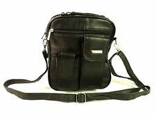 Mens Womans Messenger Man Bag Shoulder Cross Over Body Bag Black Genuine Leather