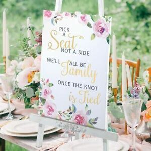 Wedding Sign Seating Ceremony Decorations Pick a Seat Not a Side
