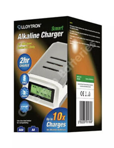 Lloytron Smart ALKALINE Battery Charger + 4x Rechargable AA Alkaline Batteries