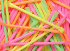 80s Party Table Decorations - 100 Neon Sherbert Straws - 80s Sweets