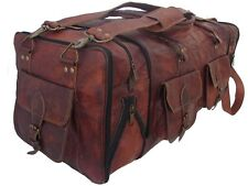 """30""""Men's genuine Leather luggage gym weekend overnight duffle bag large holdall"""