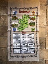 New listing Vintage 1980 Linen Calendar Tea Towel Ireland