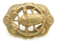 Art Nouveau Gold Tone Egyptian Revival Scarab Repousse Openwork Pin Brooch