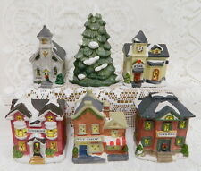 5 CHRISTMAS VILLAGE PORCELAIN CHURCH~TOWN HALL~PET SHOP~SCHOOL~FLORIST~TREE