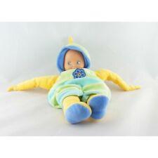 Doudou poupée salopette jaune vert bleu fleur NOUNOURS - Poupée - Lutin Classiqu