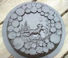 "Gostatue plaster concrete log moose stepping stone mold 10"" x 1"" thick"