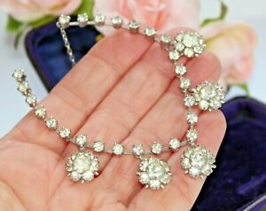 VINTAGE SPARKLY FACETED PASTE / RHINESTONE NECKLACE. WEDDING BRIDAL PROM