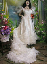 CUSTOM made VINTAGE satin WEDDING dress GOWN off-shoulder RUFFLED TRAIN low back
