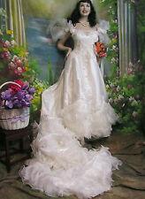 CUSTOM made VINTAGE satin WEDDING dress GOWN off-shoulder RUFFLED TRAIN low back
