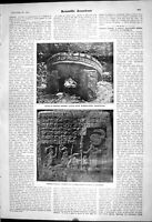 Old 1903 Scientific American Piedras Negras Altar Hieroglyphic Sculpt 20th