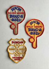 3 Duncan Yo-Yo Patches Gold, Silver Bang_a-Ball + A Two-Handed Award.FREE SHIP!