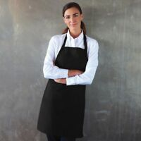 BLACK HALTER NECK BIB APRON FOR UNISEX STRONG DURABLE MATERIAL, CATERING CHEF