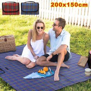 200CM Picnic Blanket Family Waterproof Camping Rug Folding Travel Beach Mat