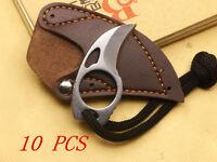 10Pcs 3Cr13Mov Steel Finger Hole Knife MINI Cute Camping Bear Claw 2cm Hole DIA.