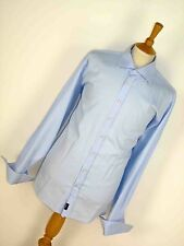 MENS VINTAGE RETRO ENGLISH SPREAD COLLAR FINE BLUE STRIPED DOUBLE CUFF SHIRT XL