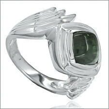 3.0 ct Green Tourmaline Cabochon In Sterling Silver Ring #91046