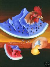 Lee CHRISTOPHERSON Watermelon CHICKEN Giclee Art Print