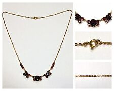 Gold Chain with Garnet 333 Gold Necklace Garnet Necklace Garnet Jewelry