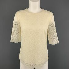 BARNEY'S NEW YORK Size 6 Cream Lace Short Sleeve  Blouse