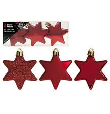 Christmas Tree Star Baubles Silver Red Gold Glitter and Matte 6cm Choose Colour