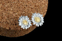 0.8cm gold and silver tone daisy sunflower flower stud earrings