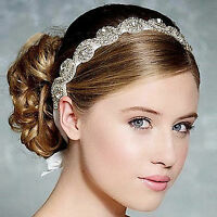 Women Lady White Wedding Bride Crystal Embroidery lace Hair head Headband Prop