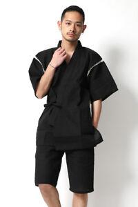 Japanese Mens Jinbei Kimono Short Sleeve Pants Sleepwear Pajamas Sets Loungewear