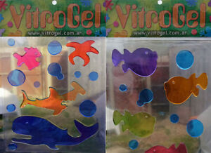 Vitrogel Puffer + Sea Creatures Reusable Decorative Gel Window Clings Stickers