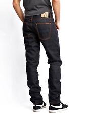 Nudie Mens Regular Tapered Fit Selvedge Jeans Sharp Bengt Dry Brown Selvage