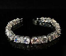 14k Platinum Tennis Bracelet made w Swarovski Crystal Bling Stone Bridal Jewelry