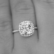 3ct Cushion-Cut Diamond Halo Engagement/Wedding Ring D/VVS1 925 Sterling Silver