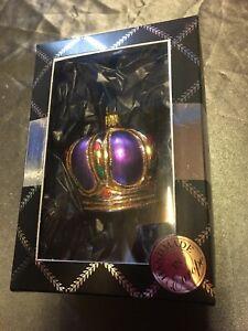 Brink Nordic Luxury Handmade Glass Christmas Bauble. Purple Crown 5cm x 6.5 - 78