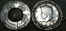Lot of 2 Encased Coins Pan American Exposition Indian Kennedy Silver - #C079