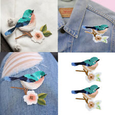 2PCS Flower Birds DIY Craft Sewing Embroidered Sew/Iron On Applique Patch