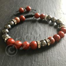 Luxury Red Jasper and Hematite Crystal Beaded Mala Energy Healing Bracelet