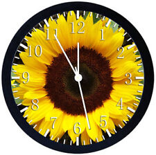 Sun Flower Black Frame Wall Clock Nice For Decor or Gifts X26