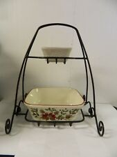 Longaberger Wrought Iron Holiday 2 Tiered Stand with Garland Pottery Bowls Set