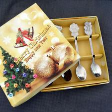 NEW 4Pcs Mini Christmas Stainless Steel Coffee Tea Kids Spoon Teaspoon Tableware